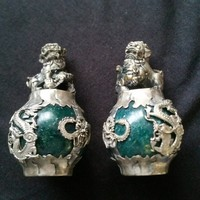 Jade, Asian, lucky, lion statue couple,