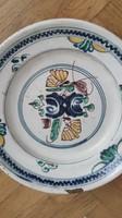 Antik néprajzi fazekas munka, tordai erdélyi tál tányér tálaló XIX. sz. virágos