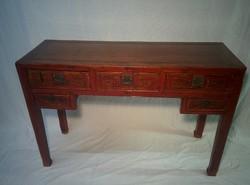 Qing dinasztia korabeli 5 fiókos vörös asztal