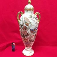 Német Royal Bonn 1890-1920. Madaras Virágos Fedeles Porcelán Váza,Karaffa. Jelzett