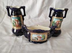 Királykék vázák és tartó, porcelán