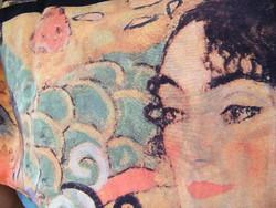 Gustav Klimt Nő legyezővel selyemkendő, sál