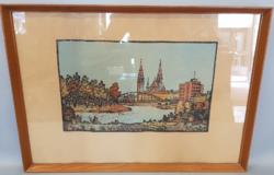 Réti Mátyás: Szeged színes linómetszet