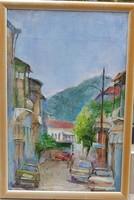 Ism. festő: Mediterrán utcarészlet