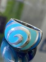 Egyedi ezüst gyűrű Tűzzománc díszítéssel