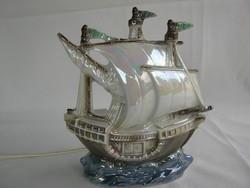 Sitzendorfi porcelán vitorlás hajó lámpa
