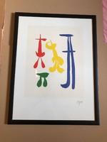 """Joan Miro (1893-1983) """" Parler seul"""" Szines kőnyomat  Aláírással a lemezen keretezett mérete:49 X 64"""