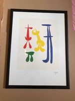 """Joan miro (1893-1983) """"parler seul"""" with color lithograph signature framed on plate size: 49 x 64"""