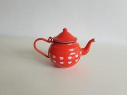 Zománcos régi vintage vas kávéskanna teáskanna piros zománcozott kanna kiöntő