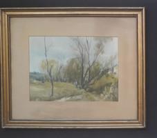 Szalóky Sándor tájkép (akvarell papíron, kerettel 60x50 cm)