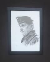 Nyírő Veronika: Katonaportré (grafit-karton üveg alatt 33x24 cm)