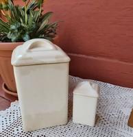 Gránit fehér 2 db fűszertartó, nosztalgia darab, paraszti dekoráció, Gyűjtői szépség