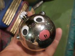 Kb 6 cm-es ,  retro , üveg karácsonyfadísz / malac , szép állapotban .