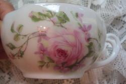 Rózsa mintás,szecessziós teás csésze,különleges füllel.