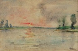 Szekfű János - Vízparti táj 20 x 30 cm akvarell, papír