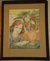 Jancsek Antal (1907-1985) : Lány virággal