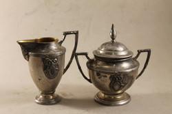 Antik fém tejszínkiöntő és cukordoboz 882