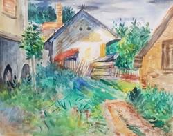 Klie Zoltán - Falusi udvar 38 x 47 cm akvarell, papír, keretezve