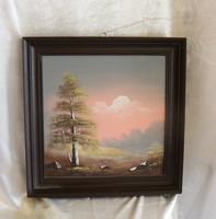 Gulyás B festmény tájkép fára festve  Mérete: 40 cm x 40 cm
