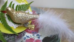 Karácsonyfadísz csipeszes márványos üveg madár