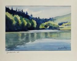 Andraskó István - Görbehalmi tó 24 x 35 cm akvarell, papír