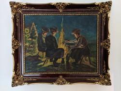 Csikósok a tábortűznél( Bulyovszky 1843) 60x50cm olaj, vászon