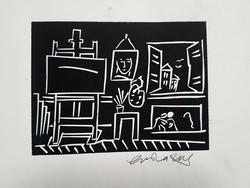 Brasnyó István - Műterem 15 x 20 cm linómetszet