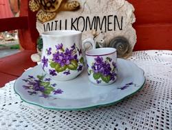 Zsolnay porcelán Ibolyás bögre csupor mokkás lapostányér  nosztalgia Gyűjtői szépség régiség