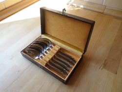 6 db retro rozsdamentes teáskanál dobozában