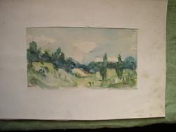 Tájkép Akvarell-papír technika, keret nélkül / ismeretlen festő munkája, Szőnyi I jelzéssel