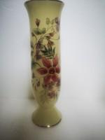 Zsolnay virágos orchideás váza talpas virágok aranyozás