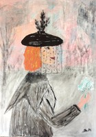 """Kata Szabo: """"woman in a veil"""" acrylic 70x50 stretched canvas, signed"""