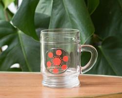 Retro óvodás, jeles bögre - üveg csésze, ovis gyerek pohár - centrum varia mintával, házgyáras