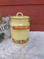 Gyönyörű  sárga Zománcos Zománcozott virágos tejeskanna, kanna, nosztalgia darab, paraszti dekoráció