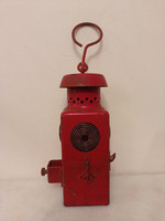 Antik piros vasutas bakter bányász petróleum lámpa bányászlámpa gyűjteményi darab