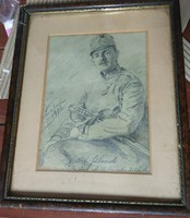 1916-os Osztrák-Magyar tiszt grafitrajz