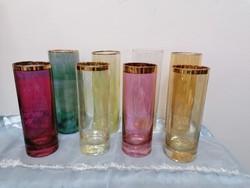 Retro színes üveg csőpohár 8 db