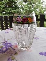 Eladó antik szecessziós üveg váza  kézzel festett rózsás rátéttel!