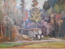 Kerecsanyin Mikola: Őszi erdőrészlet kunyhóval, 1982 eredeti jelzett olaj-farost címkével
