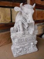 Ritka Üdvözlő Welkome kő szobor bejárathoz vagy ajándékba Fagyálló műkő ből