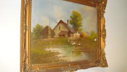 Hibátlan libás parasz tanya. Olaj vászokn festmény.(szignált)
