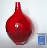 Kézzel készült meggypiros nehéz üveg váza