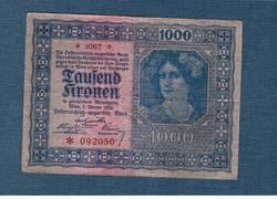 1000 Korona 1922 Osztrák - Magyar Bank VF Vízjel nélküli papír