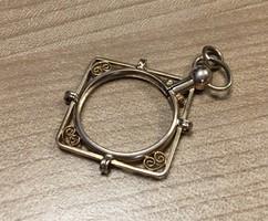 Szecessziós régi aranyozott medál fényképtartós