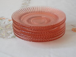 Art deco üveg süteményes tányér ( 6 db.)