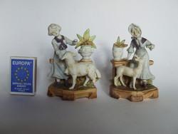 Régi,antik mini Limbach biszkvit porcelán ibolyaváza,húsvéti figurális életkép hölgyekkel-sérültek