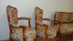 Bécsibarokk három darabos ülő garnitúra.