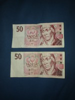 50 CZK - KIVONT BANKJEGYEK - cseh korona