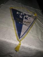Szocialista emlék    - Pécs - Györ 1987 .  selyem zászló 36 x 25 cm