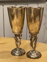 Görög Ezüst likőrös konyakos pohár, mini kehely párban meztelen szobrokkal